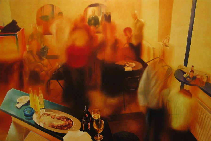 Party in Jajce 6, 2004, 200x300 cm, oil on canvas